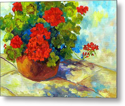 Red Geraniums I Metal Print by Peggy Wilson