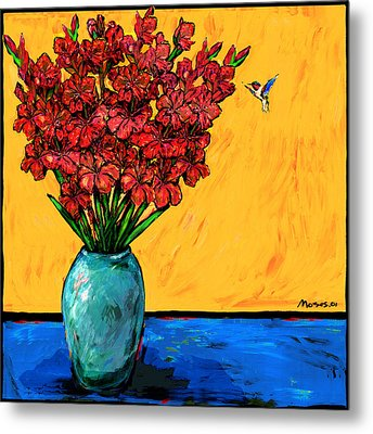 Red Glads With Hummingbird Metal Print by Dale Moses