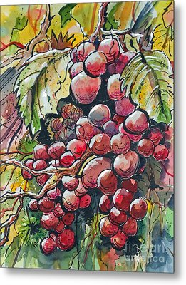 Metal Print featuring the painting Red Grapes by Terry Banderas