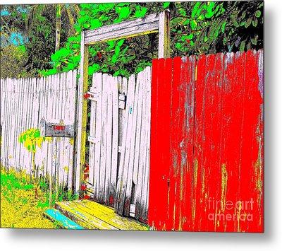 Red Grey Gate 0552 14 Metal Print