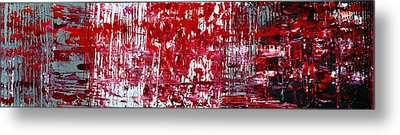 Red Grey White And Black Metal Print by Martina Niederhauser