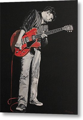 Red Guitar Metal Print by Patricio Lazen