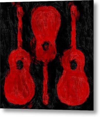 Red Guitars Metal Print by David G Paul