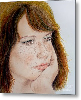 Red Hair And Freckled IIi Metal Print by Jim Fitzpatrick