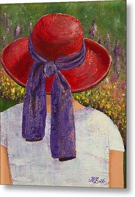 Red Hat Garden Metal Print by Margaret Bobb