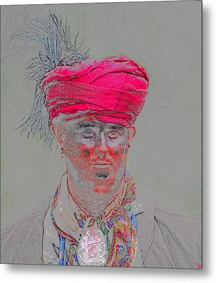 Red Hat Seminole Indian Metal Print by David Lee Thompson