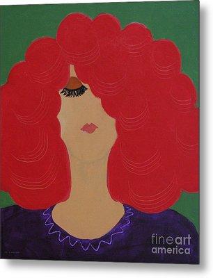 Red Head Metal Print by Anita Lewis
