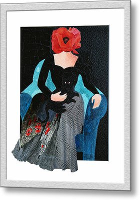 Red Head With Black Cat Metal Print by Eve Riser Roberts