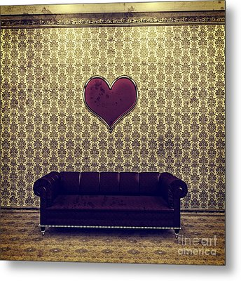 Red Heart And Purple Couch In A Gold Victorian Room Metal Print by Beverly Claire Kaiya