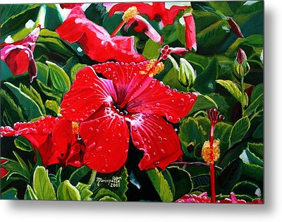 Red Hibiscus Metal Print by Marionette Taboniar