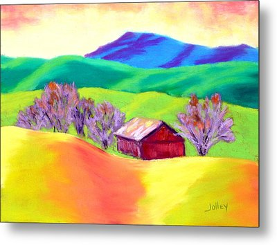 Metal Print featuring the painting Red Hill Barn by Nancy Jolley
