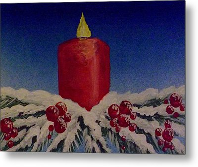 Red Holiday Candle Metal Print by Darren Robinson