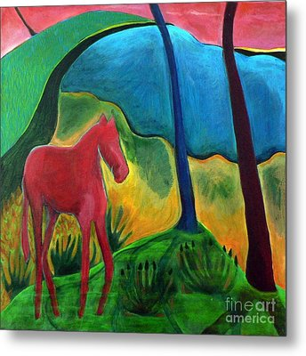 Metal Print featuring the painting Red Horse by Elizabeth Fontaine-Barr