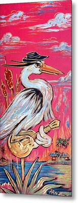 Red Hot Heron Blues Metal Print by Robert Ponzio