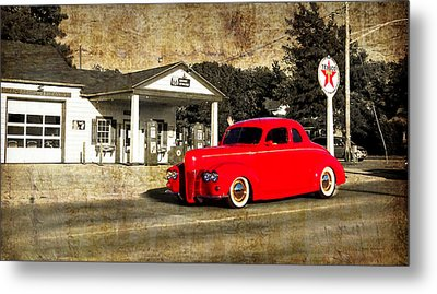 Red Hot Rod Cruising Route 66 Metal Print by Thomas Woolworth