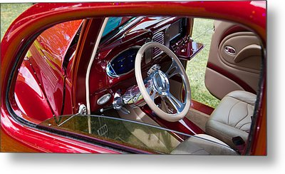 Metal Print featuring the photograph Red Hot Rod Interior by Mick Flynn