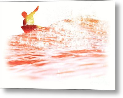 Metal Print featuring the photograph Red Hot Surfer by Paul Topp