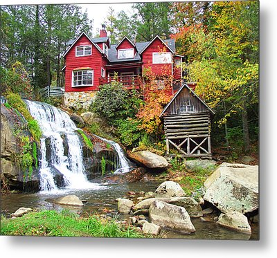 Red House By The Waterfall Metal Print