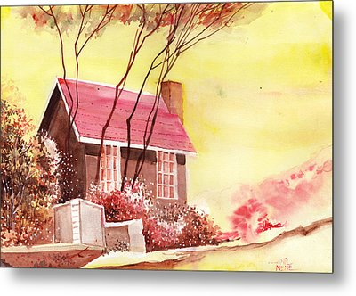 Red House R Metal Print by Anil Nene