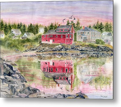 Red House Reflection Metal Print by Melly Terpening