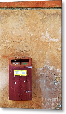 Red Italian  Mailbox On Ochre Wall Metal Print by Sami Sarkis