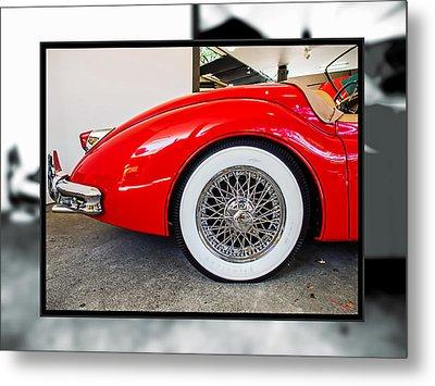 Red Jaguar Xk 140 Metal Print by SM Shahrokni