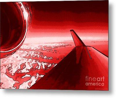 Red Jet Pop Art Plane Metal Print by R Muirhead Art
