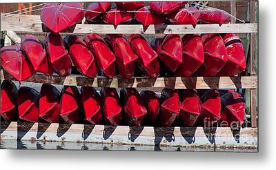 Red Kayaks Metal Print by Thomas Marchessault