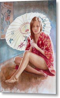 Red Kimono Metal Print by Tomas OMaoldomhnaigh