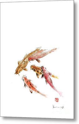 Red Koi Fish Fishes Orange Tangerine Caramel Brown Zodiac Pisces Watercolor Painting Metal Print by Johana Szmerdt