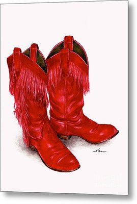Red Leather Fringed Cowboy Boots Metal Print