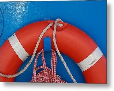 Red Life Belt On Blue Wall Metal Print by Ulrich Kunst And Bettina Scheidulin