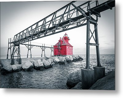 Red Light On Lake Michigan Metal Print
