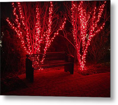 Red Lights And Bench Metal Print