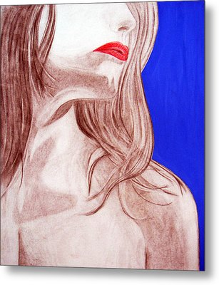 Metal Print featuring the painting Red Lips by J Anthony
