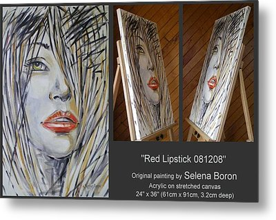 Metal Print featuring the painting Red Lipstick 081208 by Selena Boron