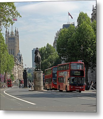 Red London Bus In Whitehall Metal Print