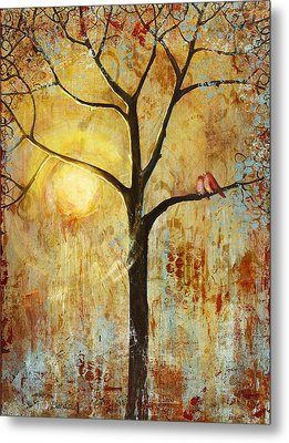 Red Love Birds In A Tree Metal Print by Blenda Studio