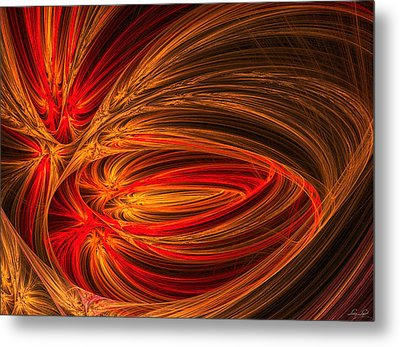 Red Luminescence-fractal Art Metal Print by Lourry Legarde