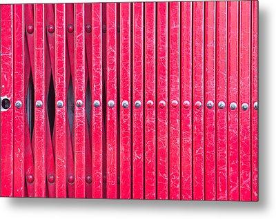 Red Metal Bars Metal Print by Tom Gowanlock