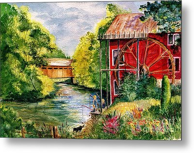 Red Mill At Waupaca Metal Print by Marilyn Smith