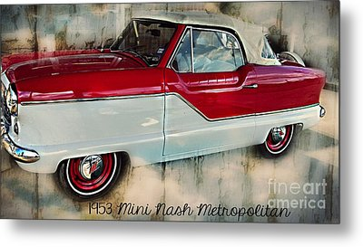 Red Mini Nash Vintage Car Metal Print by Peggy Franz