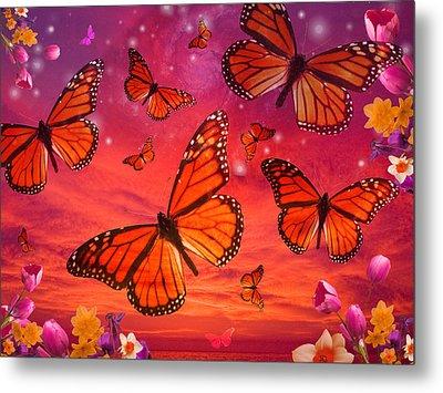 Red Monarch Sunrise Metal Print by Alixandra Mullins