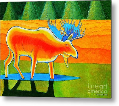 Metal Print featuring the painting Red Moose by Joseph J Stevens