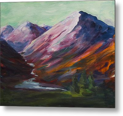 Metal Print featuring the painting Red Mountain Surreal Mountain Lanscape by Yulia Kazansky