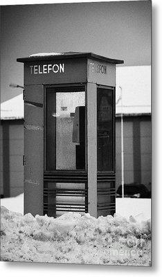 Red Norwegian Telenor Telefon Box Buried In The Snow Norway Europe Metal Print by Joe Fox