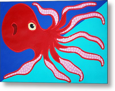 Red Octopus Metal Print by Matthew Brzostoski