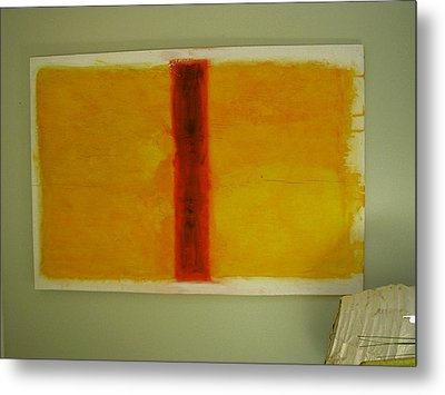 Metal Print featuring the painting Red  On Yellow by Phoenix De Vries