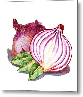 Red Onion And Bay Leaves Metal Print by Irina Sztukowski