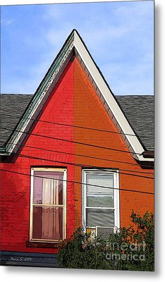 Metal Print featuring the photograph Red-orange House by Nina Silver
